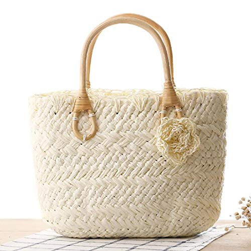 Women Straw Handmade Woven Cute Joyiyuan Small Flower color Purse White For Beach Handbag Tote White gqwxd55ZP