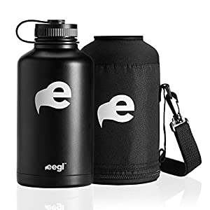 Stainless Steel Insulated Beer Growler and 64 oz Water Bottle - Includes Carry Case - Double Wall Vacuum Sealed Wide Mouth Design. Five Year Guarantee! Perfect Temperature Control from eegl