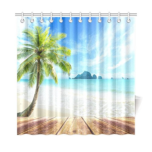 InterestPrint Beach Ocean Shower Curtain Water Proof House Decor, Wooden Pier Deck Waves Beach Palm Tree Bathroom Accessories 72 by 72 Inches Extra ()