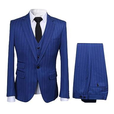 Hombre moderno vertical rayas 3 piezas traje - Carcasa fina ...