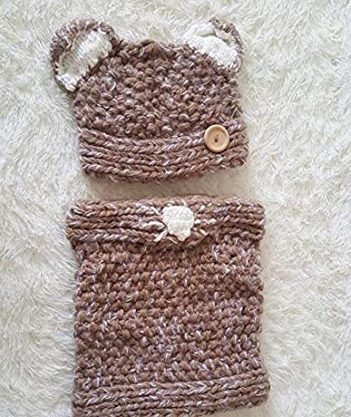 Freesiom Bonnet Echarpe Set Hiver Cagoule Renard Unisexe Bebe Enfant Garcon Fille Mignon Kawaii Chaud Tricote Laine Chapeau Bobs Protection doreilles 2-6 Ans