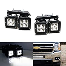 iJDMTOY 4x 20W High Power CREE LED Fog Light Kit w/ Foglamp Location Mounting Brackets For 2007-2014 Chevrolet Silverado 1500 2500 3500 HD