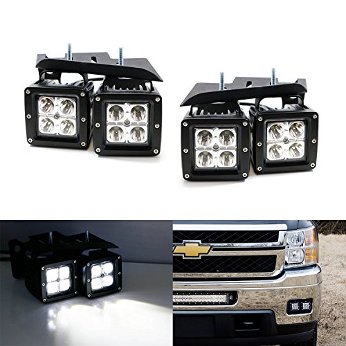 iJDMTOY 4x CREE High Power LED Fog Light Kit w/ Bumper Metal Mounting Brackets For 2007-2014 Chevrolet Silverado 1500/2500/3500 (Cab Lights For Chevy 2500hd)