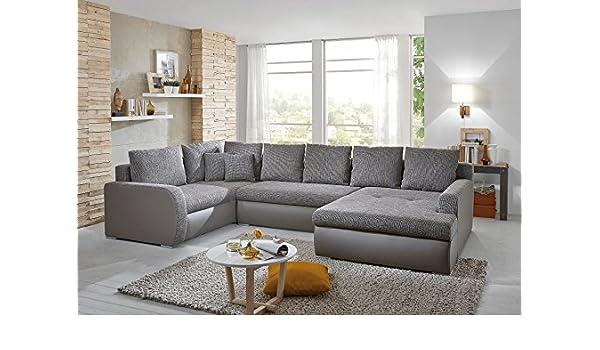 Sofá en forma de U gris plástico de sofá de esquina (cuero ...