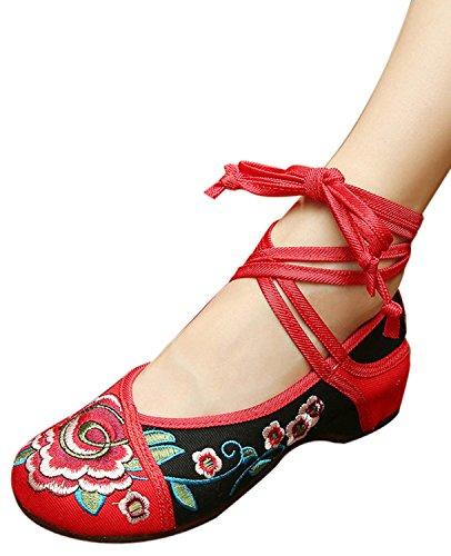 Icegrey Zapatos De Tiras Bordado Floral Del Tobillo Planos De Las Mujeres Negro rojo