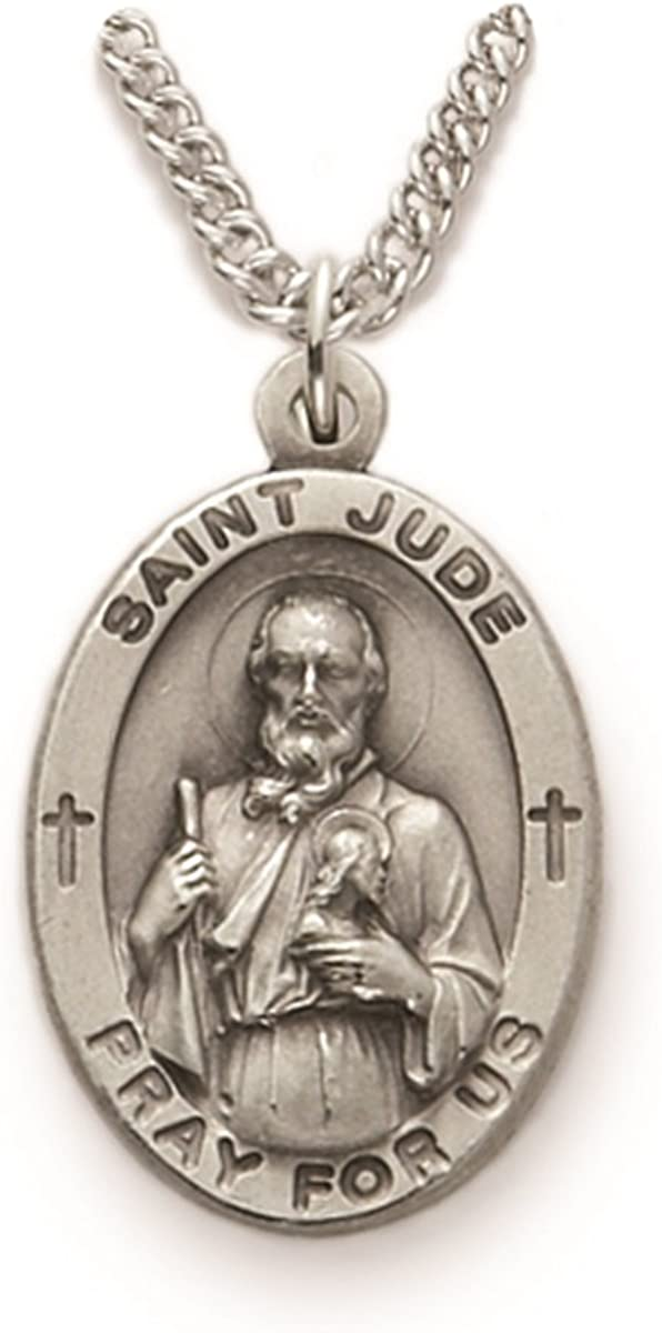 The Santi Collection Sterling Silver Catholic Patron Saint Medal Pendant, 7/8 Inch to 1 Inch