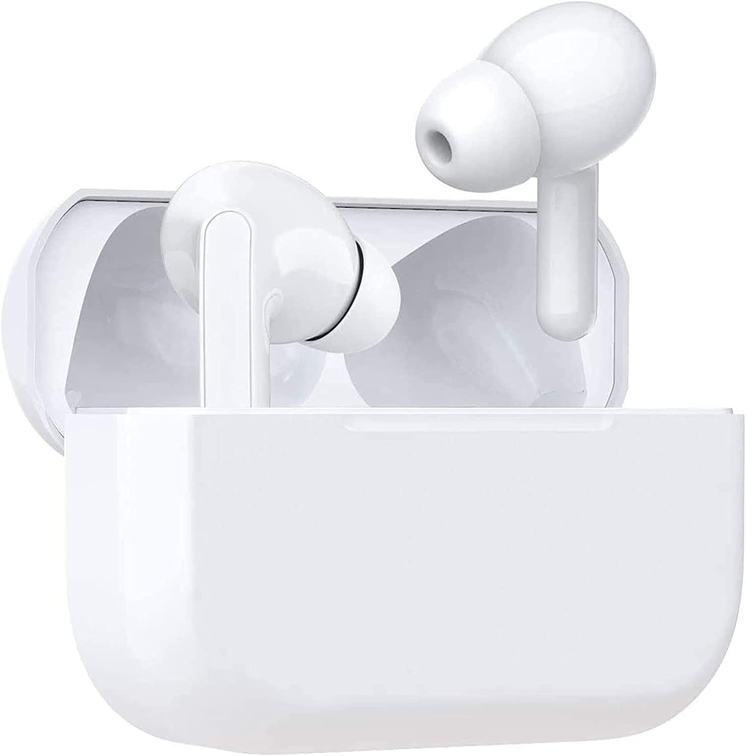 Wireless Earbuds Bluetooth Headphones with 24H Playtime Noise Canceling Stereo Earphones in-Ear Ear Buds Built in Mic Headsets IPX5 Waterproof Headphones foriPhone/Android/Samsung(White)