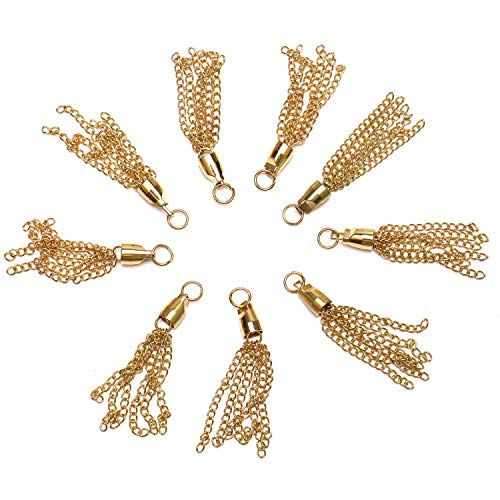 JETEHO 20 Pcs 70mm Gold Plated Metal Tassel Charm Necklace Supply Jewelry Making Parts Jewelry - Tassel Gold Plated