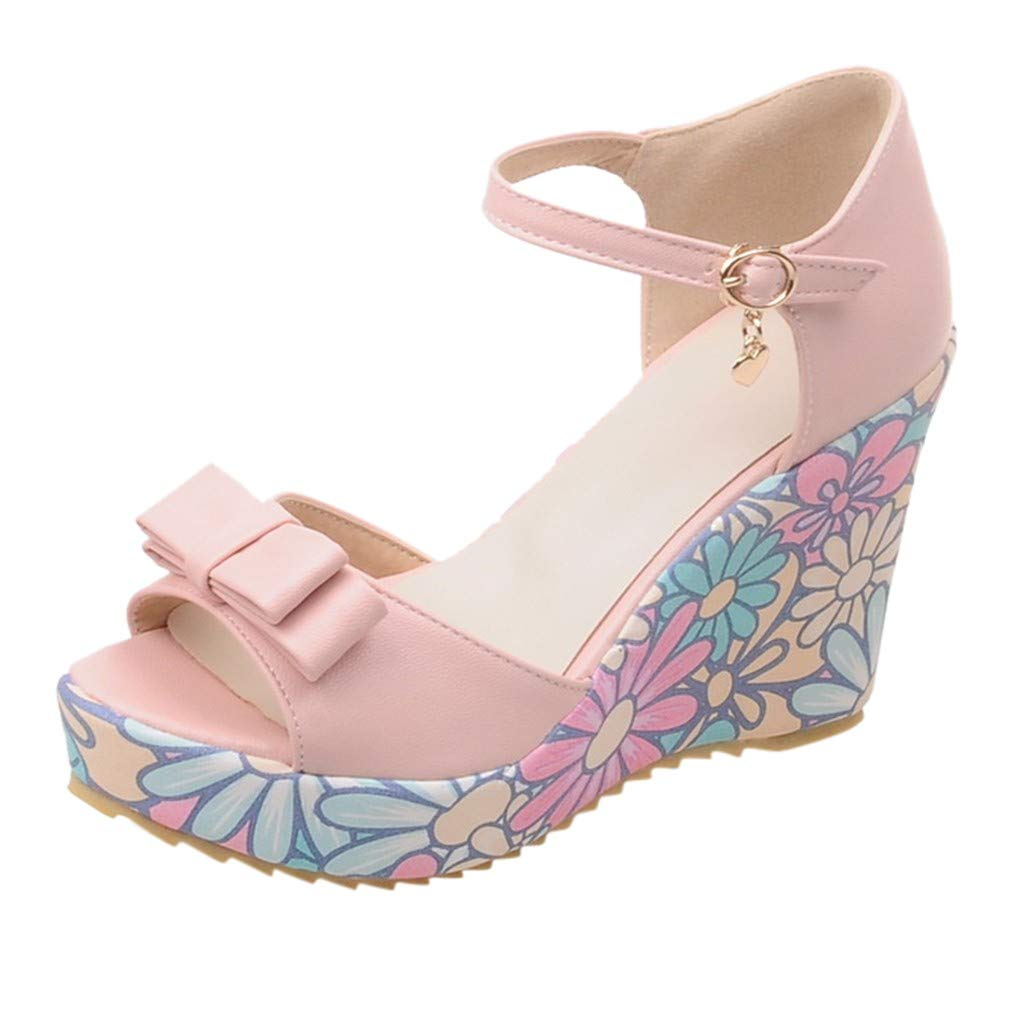LUCAMORE Women's Summer Casual Wedge Sandals Waterproof Platform With Ankle Buckle Sandals