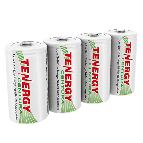 Tenergy Centura 1.2V NiMH Rechargeable D Battery, 8000mAh Low Self Discharge D Cell Batteries, Pre-charged D Size Battery, 4 Pack