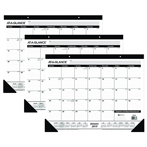 thly Desk Pad Calendars, Ruled Blocks, 12 Months, January 2019 - December 2019, 21-3/4