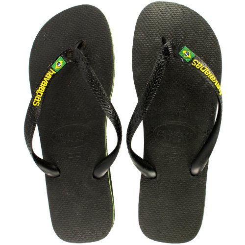 Mens Havaianas Brasil Logo Estate Infradito Sandalo Slip On Flats - Nero - 9