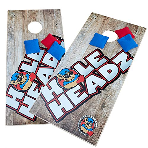 Vibes Audio Hole Headz Cornhole Set, 2 Boards + 8 Synthetic Bags, ACO Certified