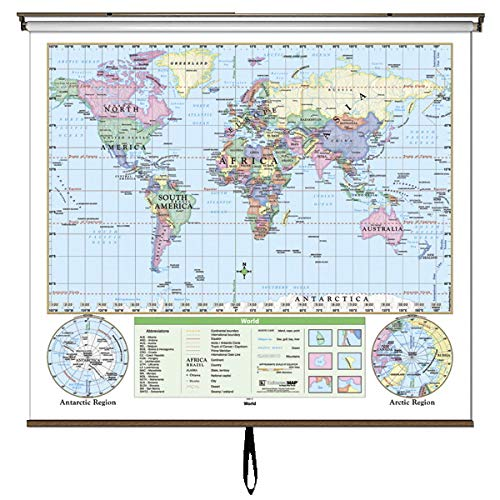 Kappa Map World Essential Wall Map on Roller with Backboard