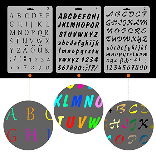 yueaon pack of 6 plastic letters and numbers stencils alphabet symbols stencil template 7x10 inch