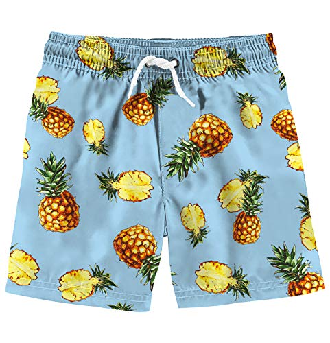 Funnycokid Toddlers Shorts Summer Beach wear Big Pineapple Extended Size Kids Swim Trunks with Pockets -