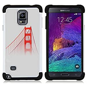 BullDog Case - FOR/Samsung Galaxy Note 4 SM-N910 N910 / - / USA MIST SAN FOG RED BRIDGE FRANSISCO /- H??brido Heavy Duty caja del tel??fono protector din??mico - silicona suave