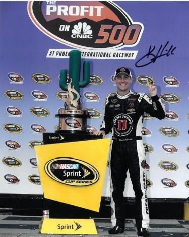 (Autographed Kevin Harvick Picture - 8x10 Trophy at Phoenix International Raceway) - Autographed NASCAR Photos)