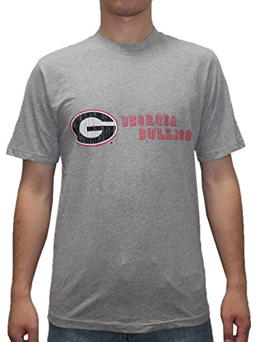 Mens GEORGIA BULLDOGS Athletic Crew-Neck Cotton T-Shirt (Vintage Look) L MensGrey