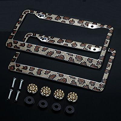 Firwood 2PCS Auto Leopard License Plate Frame, Handcraft Bling Rhinestone Diamond,Aluminum Chrome Body Including 4xCrystal Cap+4xScrew Fasteners: Automotive