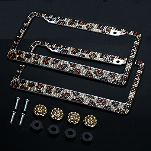 2PCS Auto Leopard License Plate Frame,Firwood Handcraft Bling Rhinestone Diamond,Aluminum Chrome Body including 4xCrystal Cap+4xScrew Fasteners