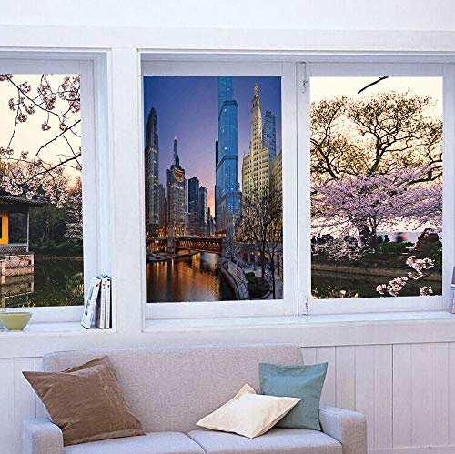 YOLIYANA Frosted Window Film Stained Glass Window Film,Landscape,Work Well in The Bathroom,USA -
