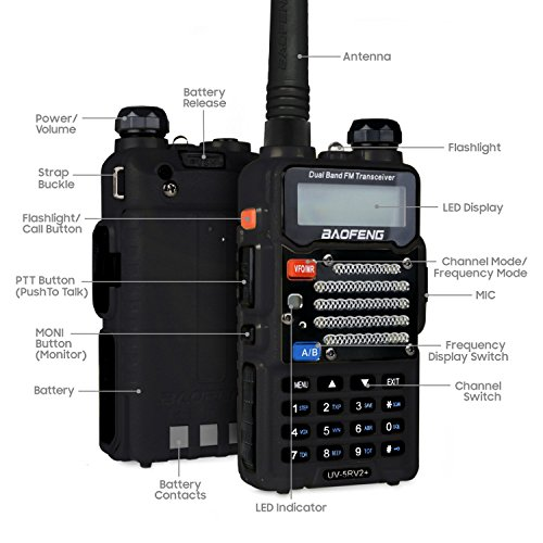 Baofeng Black UV-5R V2+ Plus (USA Warranty) Dual-Band 145-155/400-480 MHz FM Ham Two-way Radio, Improved Stronger Case, Enhanced Features by Baofeng Radio US (Image #3)
