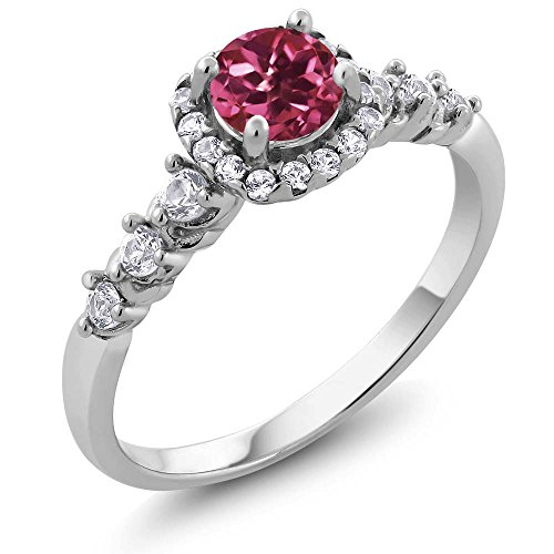 Silver Tourmaline Ring (0.92 Ct Round Pink Tourmaline and White Topaz 925 Sterling Silver Women's)