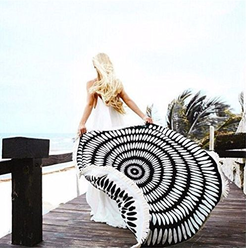 Round Mandala Tapestry Indian Wall Hanging Fashion Beach Blanket,Yoga Mat, Picnic Blanket,Beach Throw,Sunscreen Shawl Skirt Tassels(black) (Outdoor Throw Rugs)