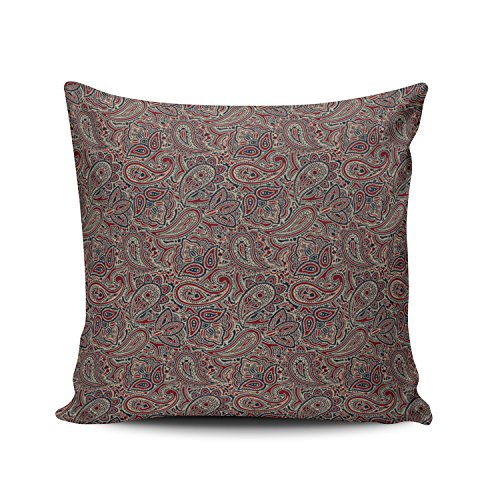 - Hoooottle Hot Red Blue Beige Paisley Pillowcase Home Style Decorative Throw Pillow Cover Cushion Case Square size 20