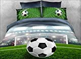 Luckey1 Football Print 3D Bedding Sets Twin Size for Kids, Cotton Duvet/Comforter Cover Twin Size 4 Pieces,1 Duvet Cover,1 Flat Sheet, 2 Pillowcases (Twin, Style-1)