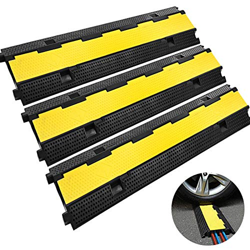 Happybuy 3 Pack of 2 11000lbs per Axle Capacity Protective Wire Cord Ramp Driveway Rubber Traffic Speed Bumps Cable Protector (2-Channel, 3Pack), ()