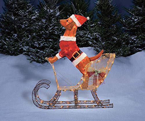 Holiday Home Outdoor Christmas Lighted Light Up Santa Dog in Sleigh Sculpture Yard Decoration