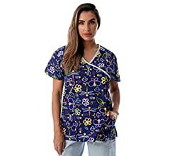 90f331b0e6b Just Love Women's Scrub Tops/Scrubs - Extra Small - Blue Butterfly. Back.  Double-tap to zoom. Color: Blue Butterfly