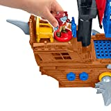 """Fisher-Price Imaginext Shark Bite Pirate Ship, Roll from one swashbuckling adventure to the next with this pirate ship playset featuring """"shark"""
