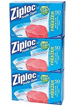 Ziploc Double Zipper Quart Freezer Bags, Clear, Quart 150 -