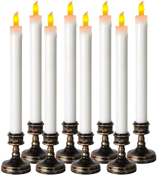 Xinind 8PCS LED Taper Candles Yellow Flickering Flameless Battery Operated Tapered Candles with Removable Aged Bronze Base for Window Home Decor