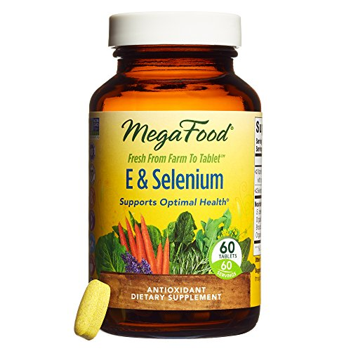 MegaFood - E & Selenium, Antioxidant Support for a Healthy Thyroid, Prostate and Aging with Sunflower, Organic Brown Rice and Turmeric Root, Vegan, Gluten-Free, Non-GMO, 60 Tablets