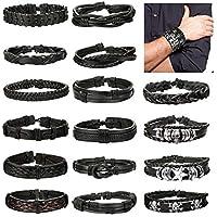 FUNRUN JEWELRY 16 PCS Braided Leather Bracelets Set for Men Black Wrap Cuff Bracelet Adjustable Punk
