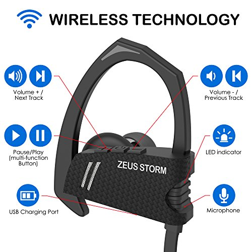 Wireless Bluetooth Headphones New m. 2018 - Best Workout Earbuds - IPX5 - Running Headphones - Sports Headphones - Bluetooth Earbuds w/Mic Noise Cancelling Headphones - Wireless (Premium Black)