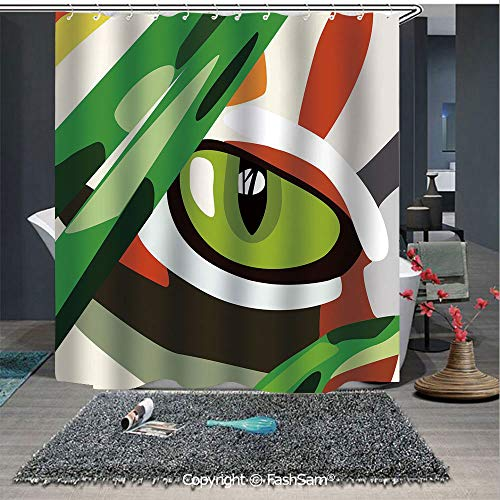 (FashSam Mildew Resistant Fabric Shower Curtain Wild Feline Cat Tiger Eye Behind Bushes Abstract Nature Dangerous Predator Vibrant Art Decorative Fabric Bathroom Decor Set with Hooks(72