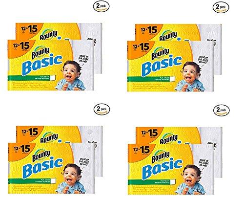 Bounty básicos toallas de papel, blanco, rollo de papel para la pared, 12 Count (Pack de 2): Amazon.es: Hogar