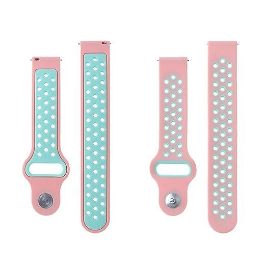 LANDUM TICWATCH2 - Repuesto de Silicona para Reloj Xiaomi Huami Amazfit Bip, Color Azul y Blanco