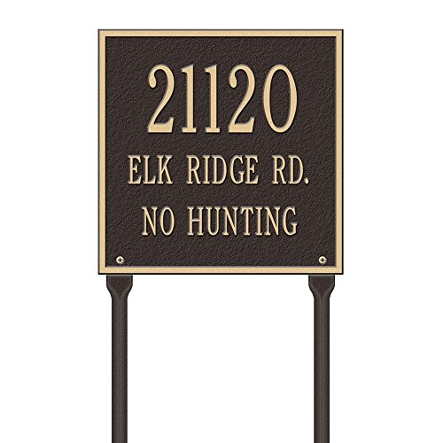 (Whitehall Products Square Standard Lawn 3-Line Address Plaque - Bronze/Gold)