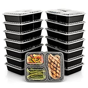 BloominGoods Meal Prep Containers   3 Compartment Food Storage Container with Lids   Microwave, Dishwasher Safe, Reusable Portion Control Plates (15-Pack) by Bloomingoods 51KFEgJ0fIL