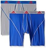 adidasMen's Sport Performance Climalite Boxer Brief Underwear (2 Pack), Bold Blue/Grey, Large/Waist Size 36-38