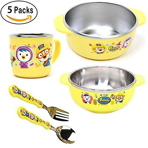 Pororo Stainless Steel Tableware Feeding set / Anti-slip silicone / Fork, Spoon, Two large and small Bowls, Cup / For Baby, Boys and Girls /Set of 5