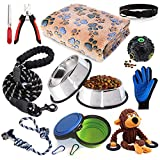 LOBEVE Puppy Starter Kit,12 Piece Dog Supplies Assortments,Set Includes:Dog Toys/Dog Bed Blankets/Puppy Training Supplies/Dog Grooming Tool/Dog Leashes Accessories/Feeding & Watering Supplies