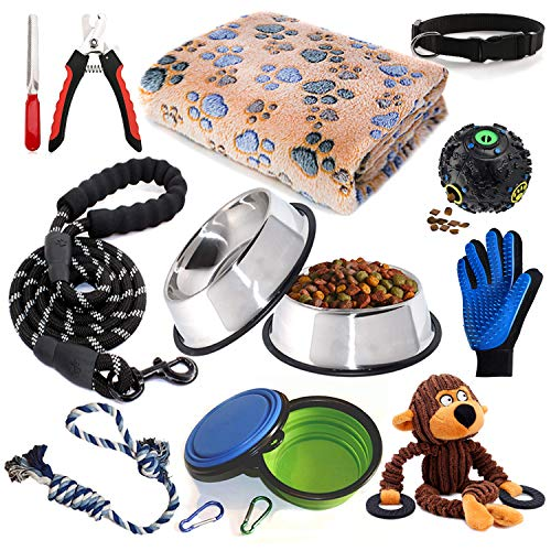 Puppy Starter Kit,12 Piece Dog Supplies Assortments,Set Includes:Dog Toys/Dog Bed Blankets/Puppy Training Supplies/Dog Grooming Tool/Dog Leashes Accessories/Feeding & Watering Supplies