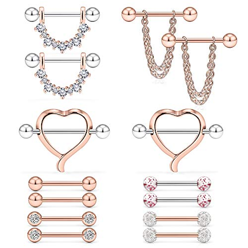 Ruifan 14G Heart Chain Crystal Ball Nipple Tongue Shield Rings Barbell Body Piercing Jewelry Retainer 14PCS Rose Gold